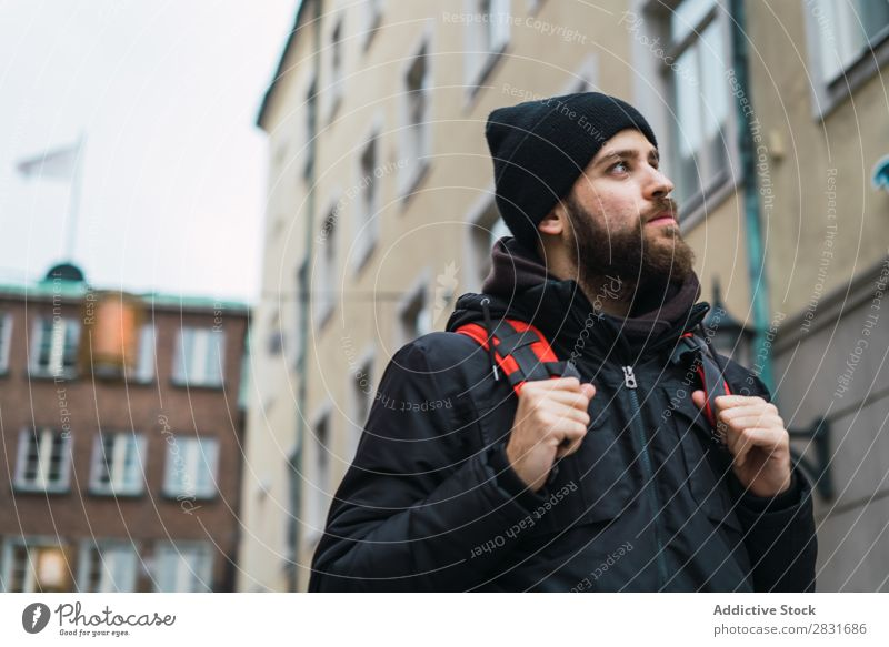 Backpacker in the city Man handsome City Street Walking Beard Sightseeing Youth (Young adults) Town Lifestyle Easygoing Fashion Style Adults Modern Human being