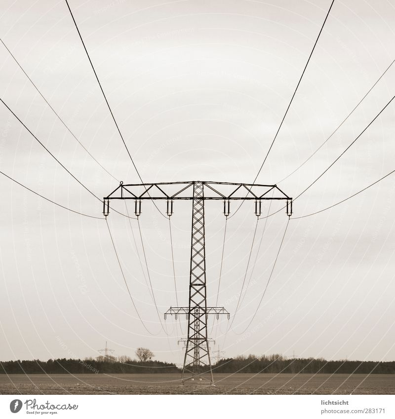 Sky Clouds Landscape Environment Gray Weather Field Energy industry Perspective Electricity Middle Electricity pylon Transmission lines High voltage power line