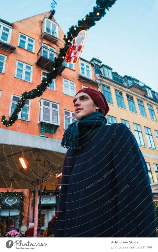 Man posing on street Building Christmas & Advent Decoration City Town Architecture Old
