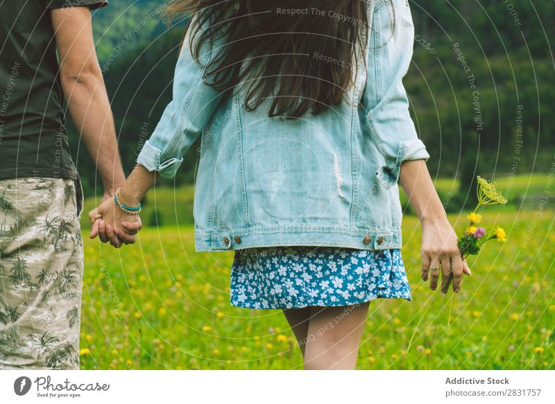 Couple walking on meadow in hills Meadow Hill holding hands Nature Summer Human being Man Woman Love Grass Beautiful Together Youth (Young adults) Happy