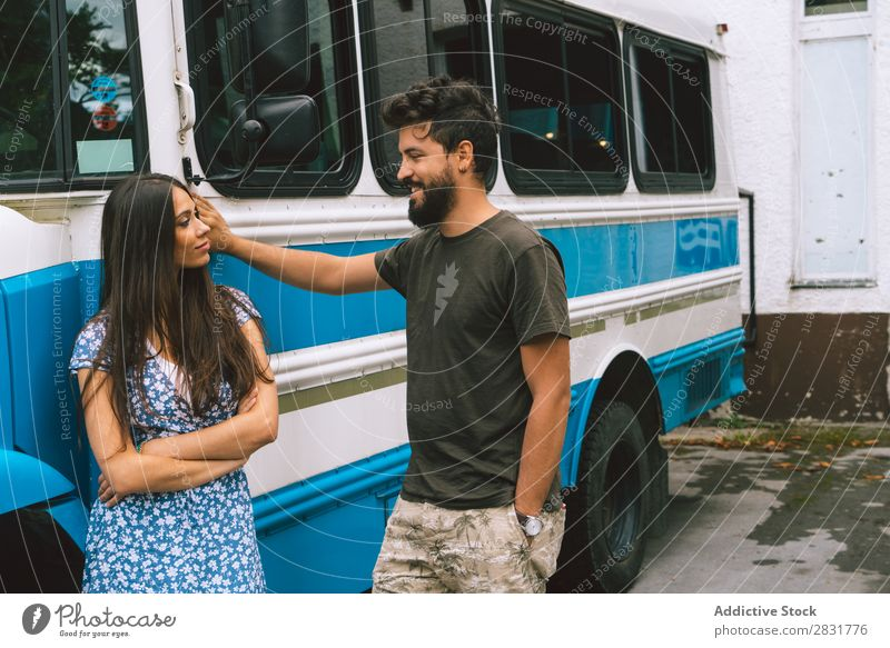Couple standing at bus Stand Together Bus Vehicle Love Human being Woman Man Happy Portrait photograph Easygoing 2 Youth (Young adults) Relationship