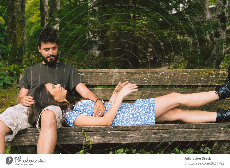 Couple relaxing at bench Sit Relaxation Bench Human being Nature Vacation & Travel Love