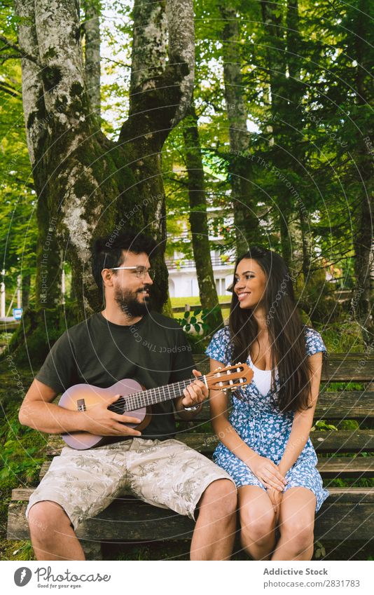 Man playing guitar for woman Couple Sit Playing Guitar Musician Acoustic Human being Nature