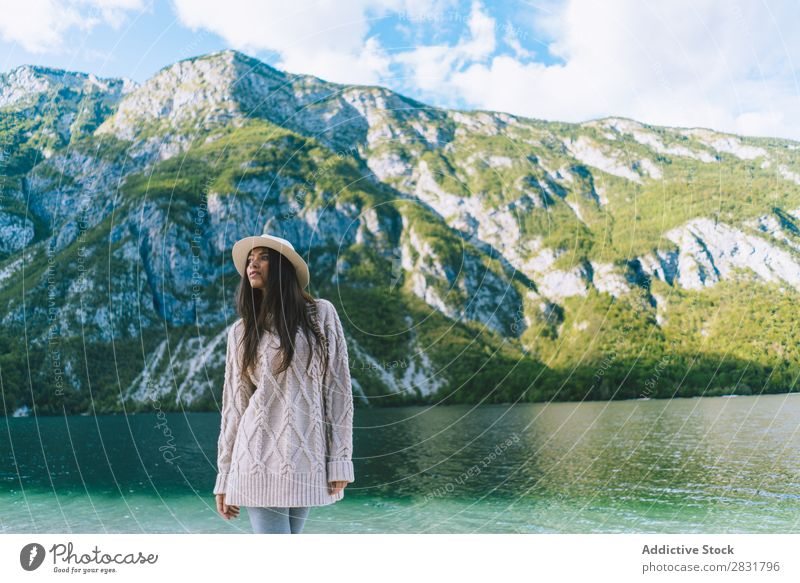 Pretty woman at shore Woman Lake Mountain Coast Nature Summer Water Youth (Young adults) Vacation & Travel Lifestyle Human being Beautiful Landscape Girl