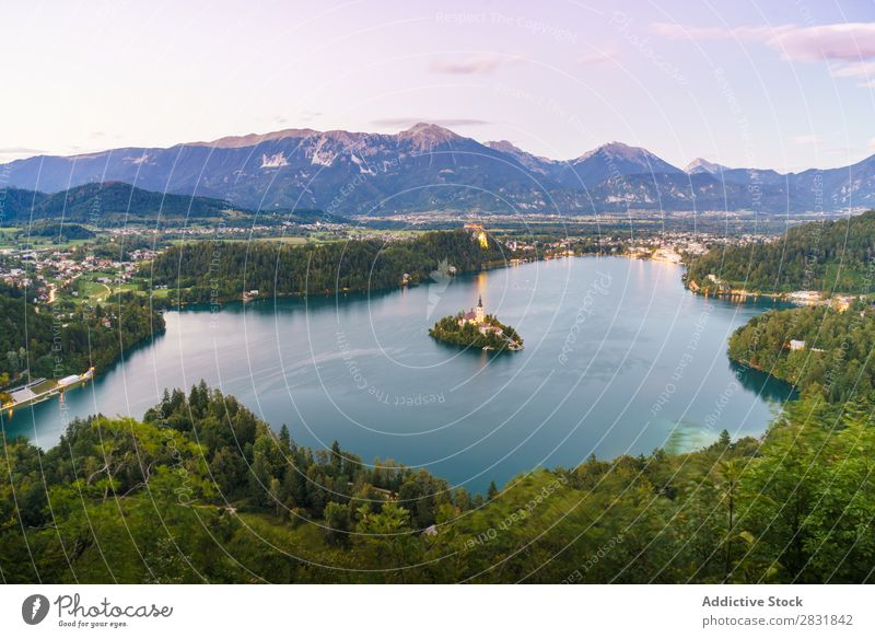 Aerial view to small island in lake Lake Island Mountain Landscape Nature Vacation & Travel Water Summer Beautiful Vantage point Aircraft scenery Tourism Green