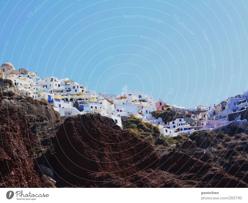 Sky Blue White Summer House (Residential Structure) Rock Cloudless sky Port City Santorini