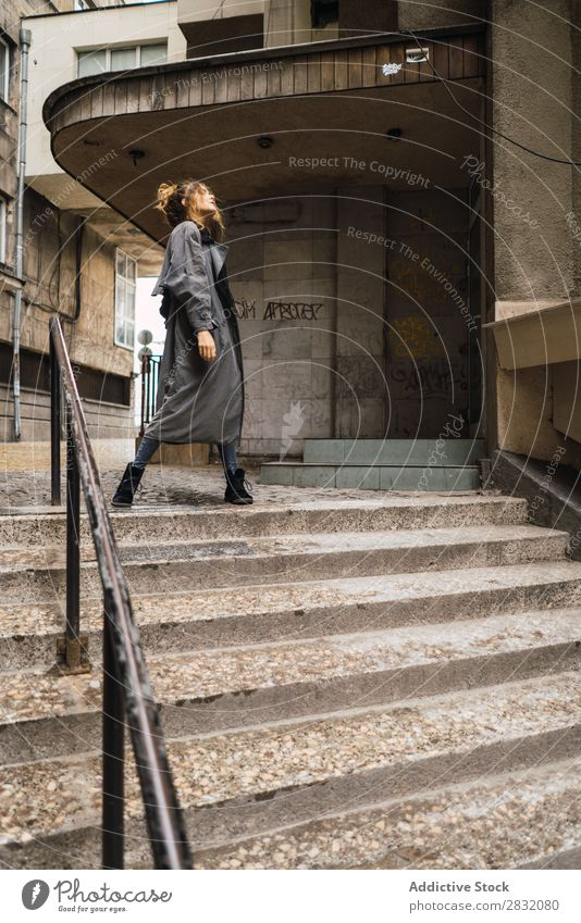 Trendy girl posing on stairs Woman Style Posture Grunge Street Town Stairs Self-confident Relaxation Beauty Photography Hip & trendy City Model Lifestyle outfit