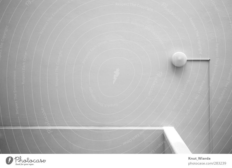The Lamp Building Architecture Facade Gray Light power cable Wall (building) Wall (barrier) White angles Free space Black & white photo Exterior shot Deserted