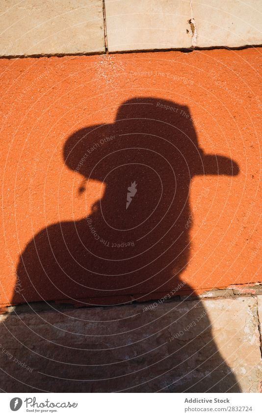Male shadow with gun on wall Man Cowboy Shadow West Silhouette Wild Western Handgun Contour Hat Wall (building) Bright Risk Sunlight Contrast Dangerous Style