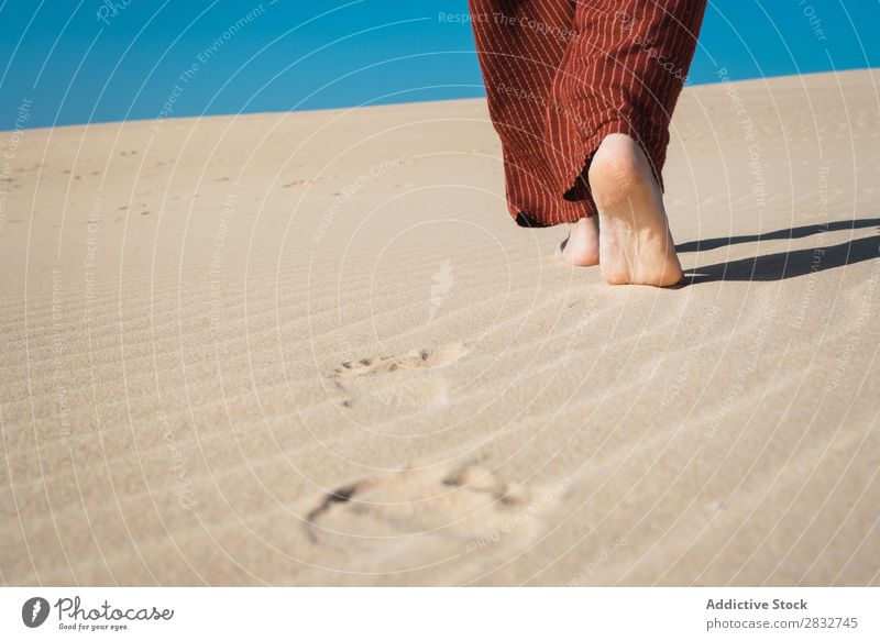 Crop male feet on rippled sand Man Sand Feet Barefoot Vacation & Travel Beach Nature Coast Stand Recklessness Consistency Dry Groove Legs Crops body part