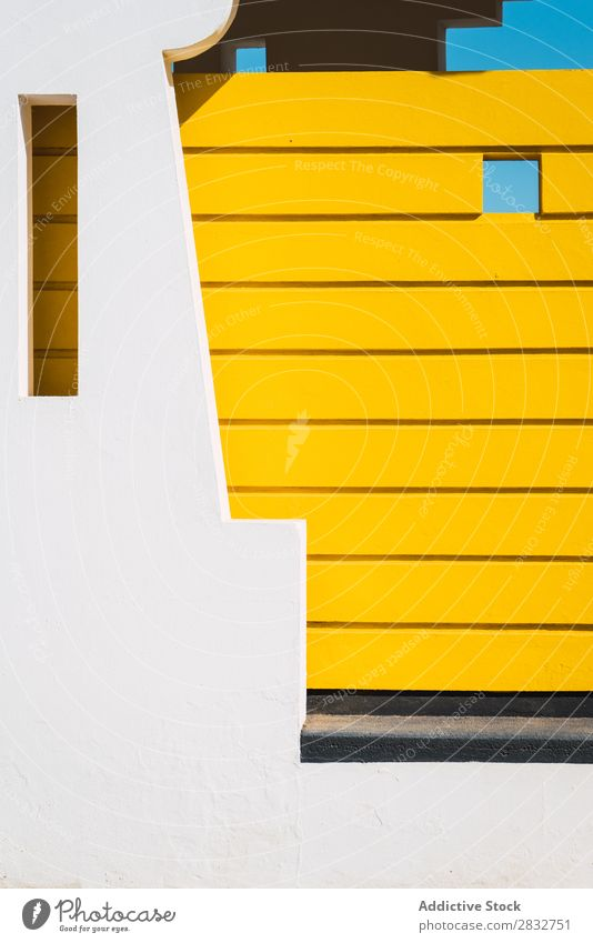 Modern building exterior with amazing architecture Exterior Abstract Architecture Construction White Symmetry Yellow geometric Building Carving
