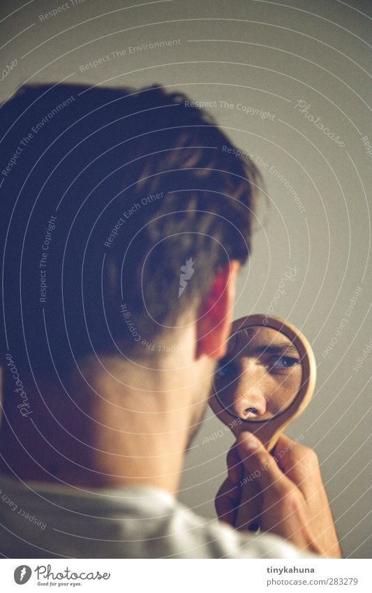 The mirror Masculine Man Adults Head Eyes 1 Human being 30 - 45 years Hand mirror Short-haired Glass Observe Looking Retro Blue Gray Inhibition Jealousy