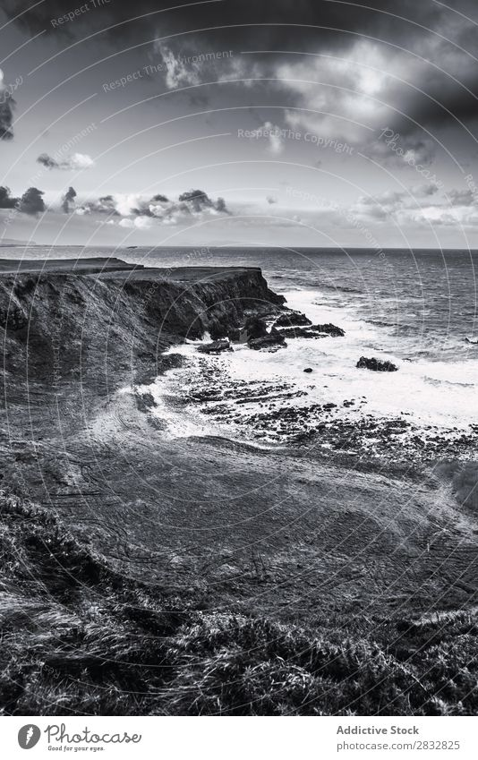 BW shot of rocky coast Coast seaside Rock Ocean Landscape Beach Nature Water Natural seascape Stone Beautiful Grass Northern Ireland Vacation & Travel Sunbeam
