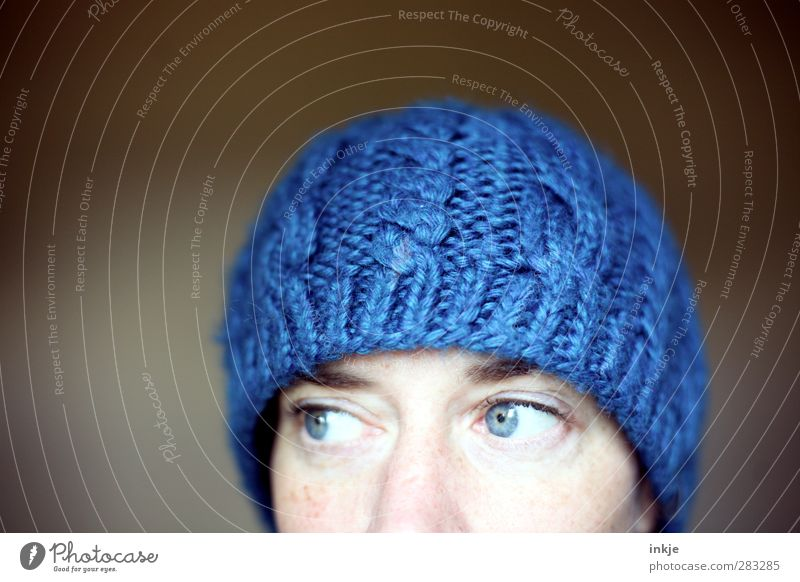 Human being Woman Blue Winter Adults Face Eyes Warmth Cold Above Fashion Soft Protection Cap Cuddly Chic