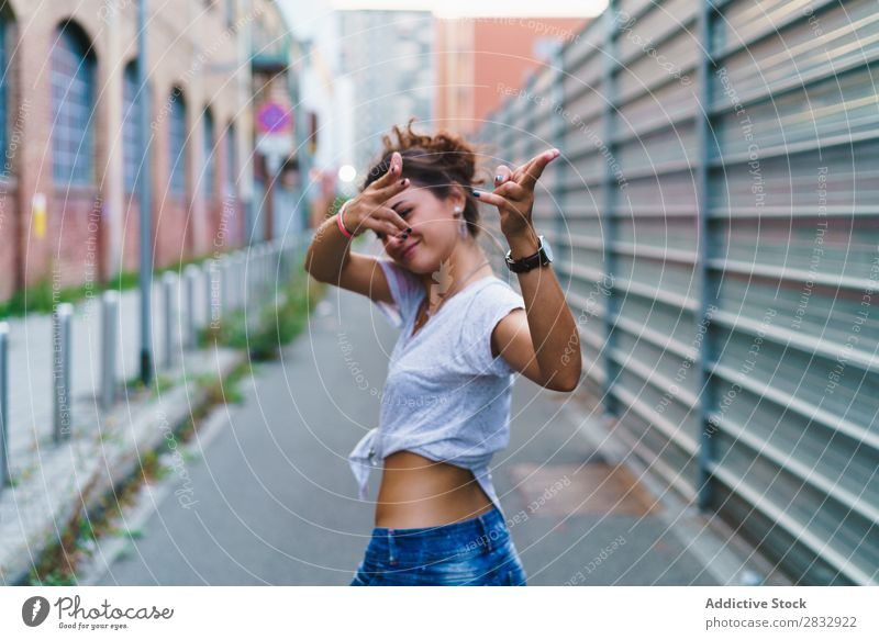 Stylish expressive girl posing at street Woman Style Playful Street gesturing Youth (Young adults) Vacation & Travel Indicate pointing at camera Town Cheerful