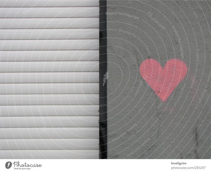 I'll shut down with love! Wall (barrier) Wall (building) Facade Roller shutter Sign Graffiti Heart Dirty Town Gray Pink Black Emotions Love Infatuation
