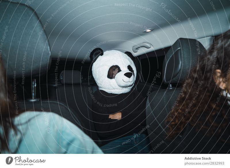 Man in panda mask Mask Peace Gesture Human being Panda Back Seat Passenger compartment Car Vehicle Transport Expression gesturing Idea Easygoing Cute Costume