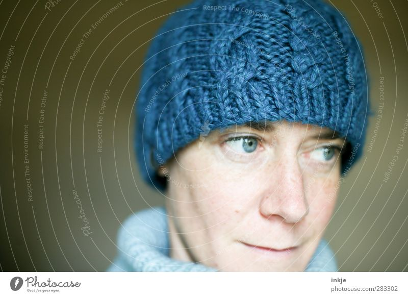 the blue cap II Style Woman Adults Life Face 1 Human being 30 - 45 years Fashion Clothing Wool Cap Woolen hat Looking Cuddly Warmth Soft Blue Healthy Cold