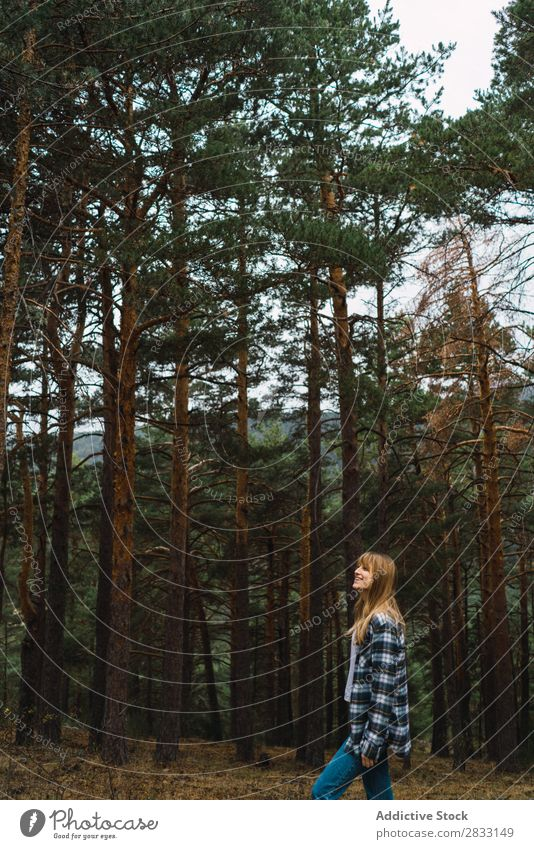 Woman posing in forest Forest Nature Youth (Young adults) Human being Leisure and hobbies Tree Lanes & trails way explore Freedom Easygoing Beautiful pretty