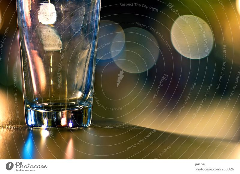 glass Glass Wood Blue Brown Yellow Table Tumbler Blur Colour photo Multicoloured Night Light Reflection