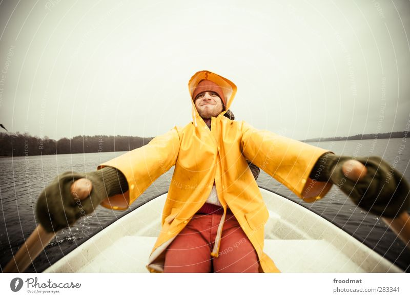 Human being Man Youth (Young adults) Vacation & Travel Water Winter Adults Cold Autumn Young man Lake Watercraft Rain Power Leisure and hobbies Fog
