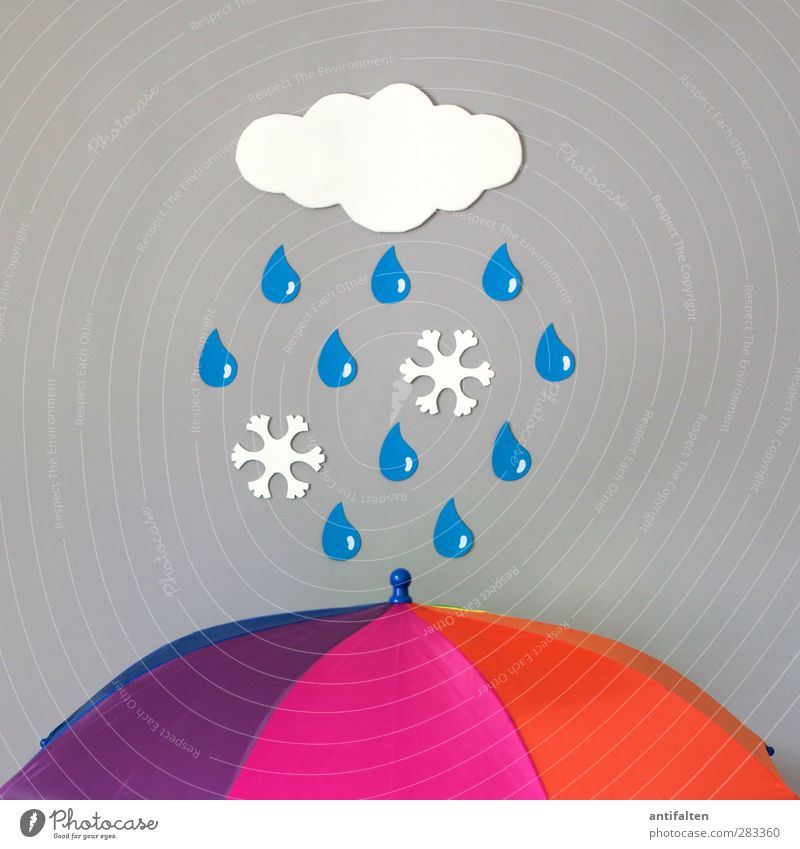 Rain and snow I Autumn Winter Weather Bad weather Storm Thunder and lightning Ice Frost Snow Snowfall Umbrella Plastic Sign Drop Frostwork Snowflake To fall
