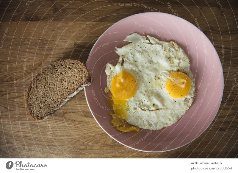 Fried egg face with slice of bread Food Bread Egg Fried egg sunny-side up Slice of bread Nutrition Breakfast Crockery Plate Healthy Healthy Eating Cook Mirror
