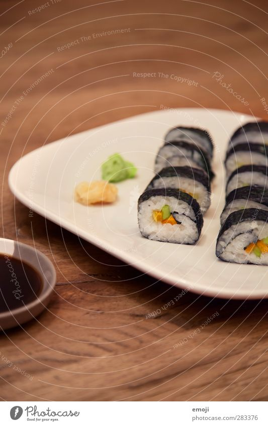 vegan sushi Fish Nutrition Vegetarian diet Diet Finger food Sushi Plate Exotic Delicious Colour photo Interior shot Deserted Copy Space top Neutral Background
