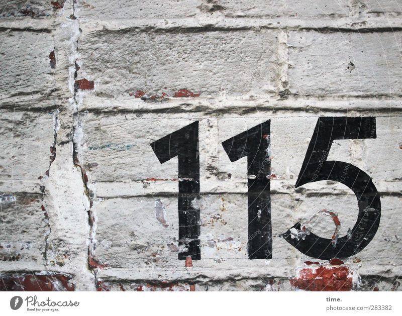 Orientation aid (II) Wall (barrier) Wall (building) Brick Digits and numbers 115 Old Dirty Historic Trashy Dry Accuracy Arrangement Town Brick wall Brick facade
