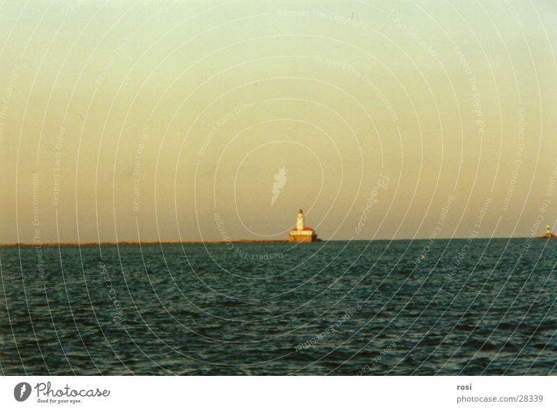 Water Loneliness Lake Island Lighthouse Evening sun Lake Michigan