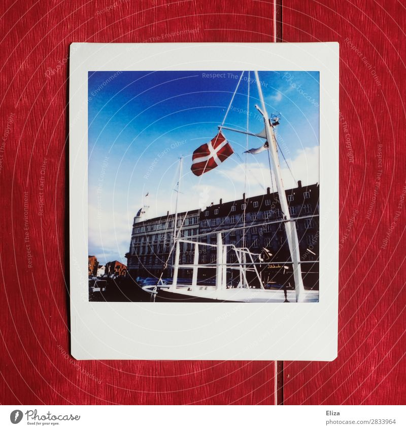 Denmark Capital city Maritime Danish flag Copenhagen Flag Harbour Polaroid Mast Summer Blue sky Navigation Watercraft Freedom Analog Sailing Colour photo