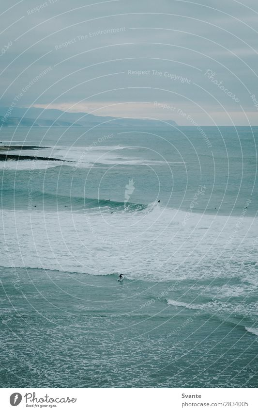 Man surfing wave in Portugal Lifestyle Vacation & Travel Adventure Summer vacation Beach Ocean Waves Sports Aquatics Human being Adults 1 18 - 30 years