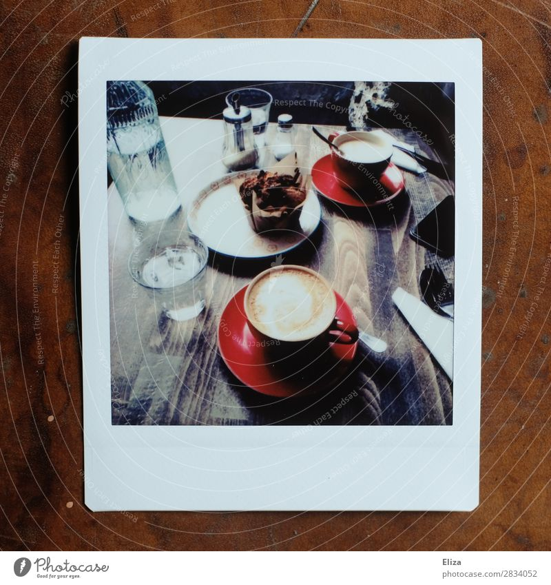 coffee break To have a coffee Muffin Coffee Retro Cozy Break Cappuccino Café Coffee break Coffee table Subdued colour Lomography Polaroid Structures and shapes