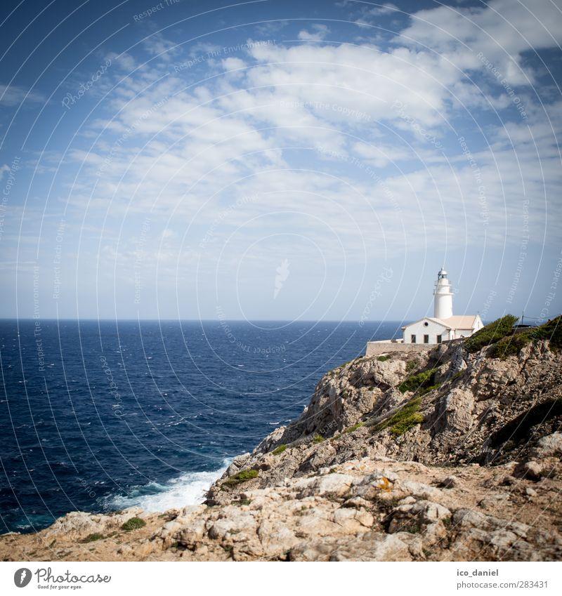 Nature Vacation & Travel Beautiful Summer Sun Ocean Landscape Far-off places Coast Rock Waves Tourism Trip Hill Bay Lighthouse