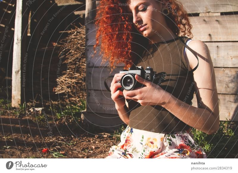 Young redhead photographer woman Leisure and hobbies Vacation & Travel Trip Summer Work and employment Profession Camera Human being Feminine Young woman