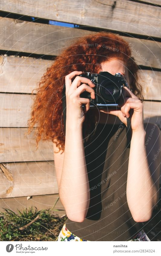 Young redhead photographer woman Lifestyle Style Leisure and hobbies Vacation & Travel Trip Summer Work and employment Profession Camera Technology Human being
