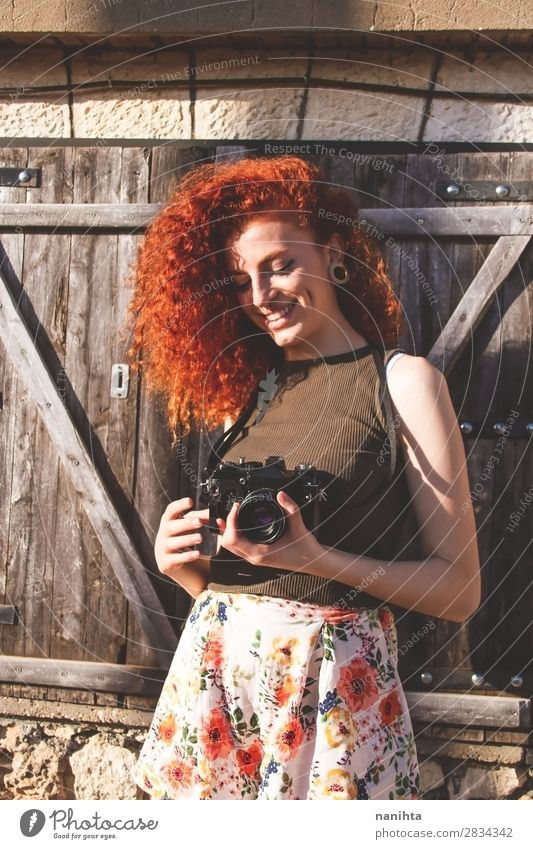 Young redhead photographer woman Lifestyle Style Joy Leisure and hobbies Vacation & Travel Tourism Trip Summer Work and employment Profession Camera Human being