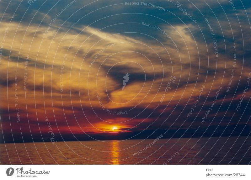Sunset II Ocean Goodbye Light Clouds Beach Water afterglows
