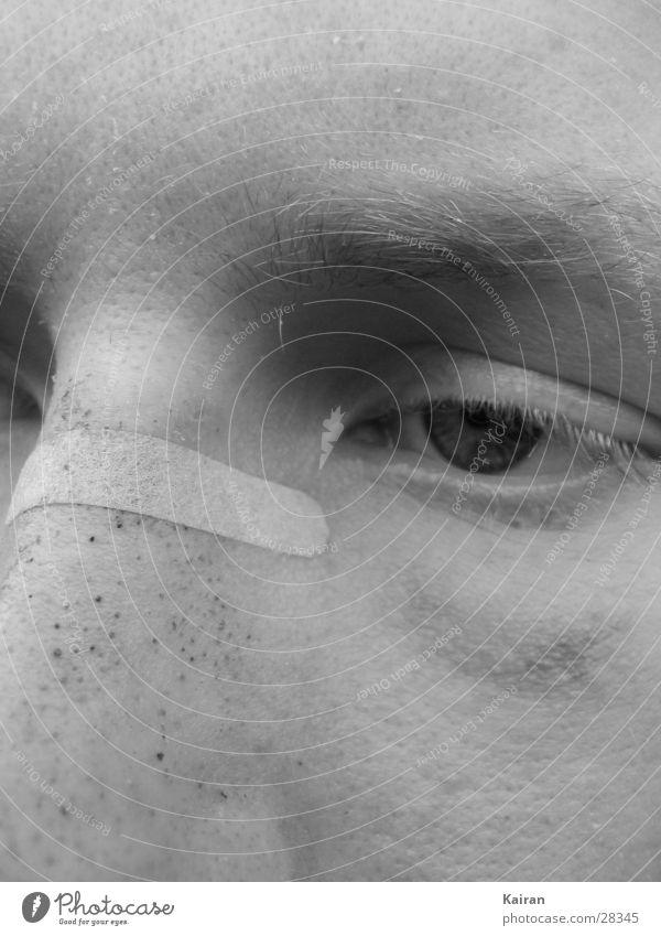 Man Face Eyes Nose Fatigue Broken Self portrait Black & white photo St. Michael's Church