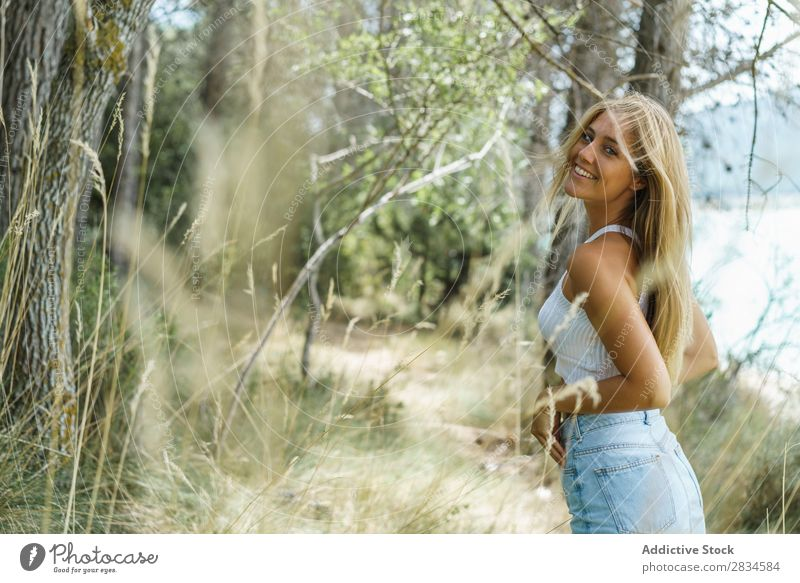 Young casual woman on nature Woman Summer Easygoing Forest human face romantic Tourism Freedom Landscape Recklessness enjoying Modern Tourist Beautiful