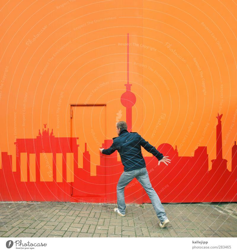 Human being Man City Red Adults Berlin Going Door Orange Facade Masculine Tourism Jeans Mysterious Skyline Jacket