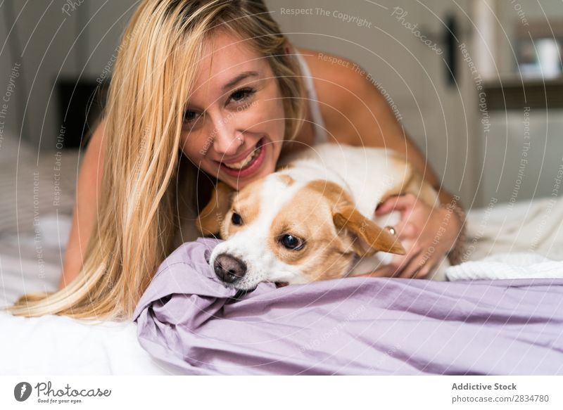Sexy young woman at home playing with her dog Dog Pet Love Human being House (Residential Structure) Youth (Young adults) Eroticism Girl Woman Caucasian Happy