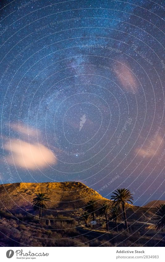 Hills and starry sky Mountain Clouds Evening Nature Landscape Natural Rock Stone Lanzarote Spain Vantage point Vacation & Travel Tourism Trip tranquil Beautiful