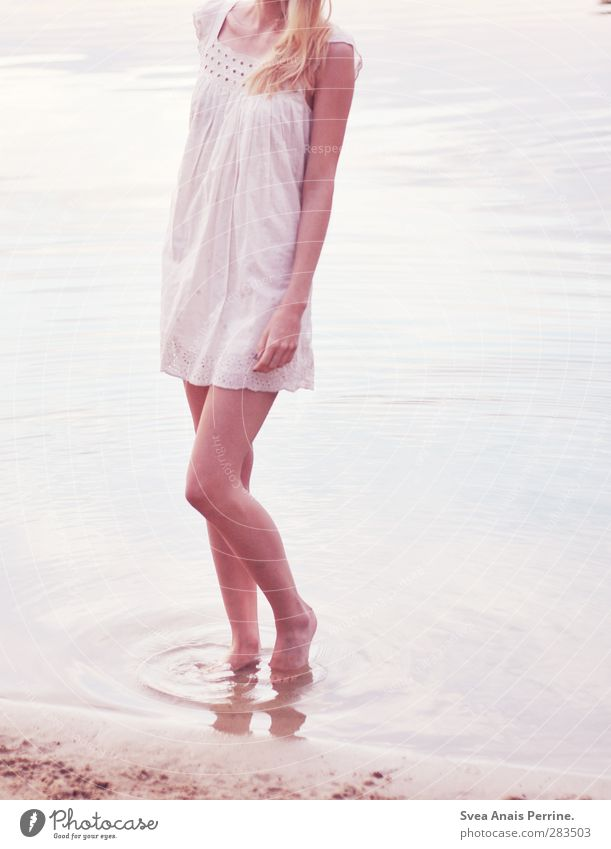 Barefoot. Feminine Young woman Youth (Young adults) Body Hair and hairstyles Legs 1 Human being 18 - 30 years Adults Environment Nature Beautiful weather Water