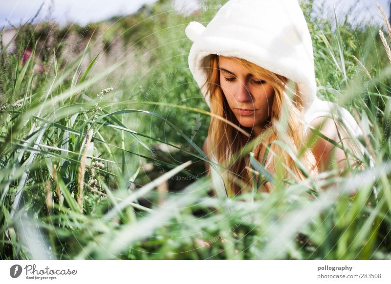 Human being Woman Nature Youth (Young adults) Summer Plant Loneliness Leaf Adults Young woman Feminine Life Emotions Grass Coast Sadness