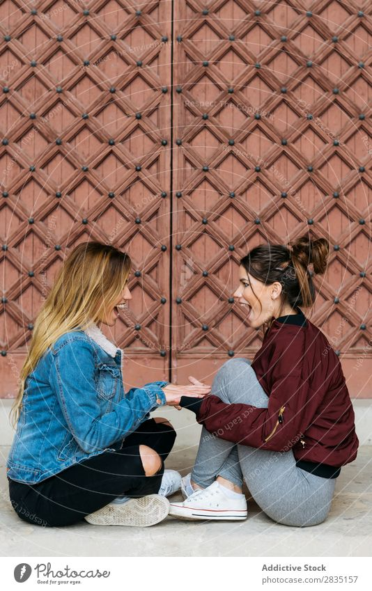 Women couple looking at each other mouth opened Happy Couple Woman Homosexual Alternative Love Human being Caucasian Youth (Young adults) Relationship Beautiful