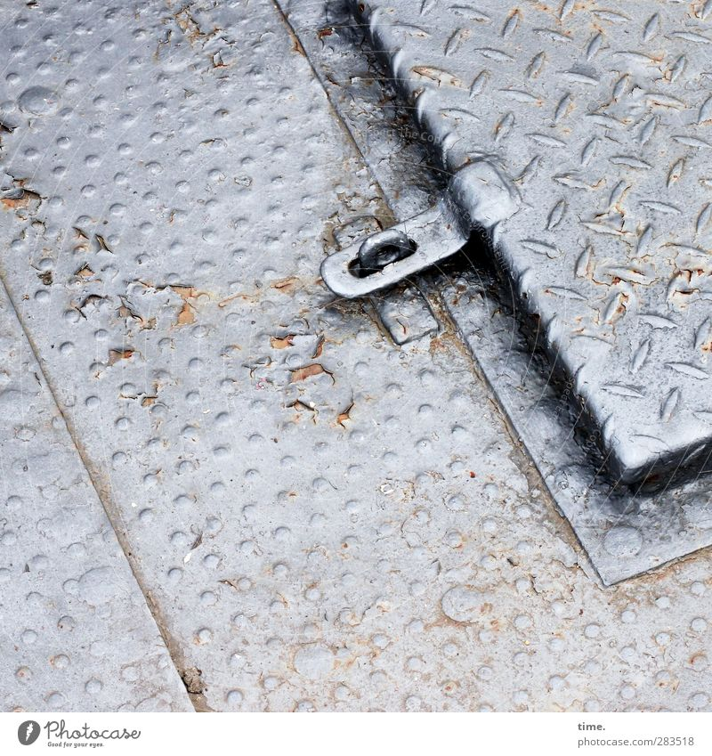 boat cellar Passenger ship On board Houseboat Paving tiles Opening Access Front door Metal Dirty Sharp-edged Cold Above Original Gray Silver Secrecy Orderliness