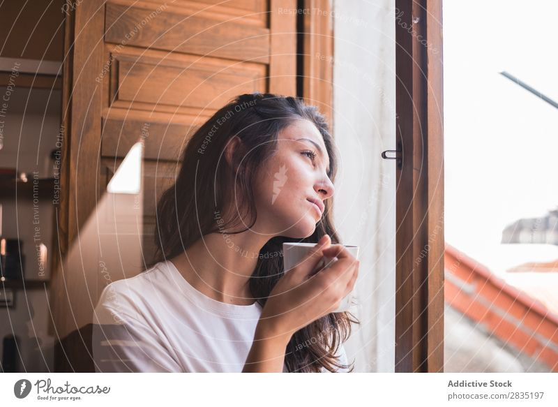 Thoughtful woman with a cup Woman Cup Window Pensive Dream Considerate Looking Mug Drinking Beautiful Youth (Young adults) Beauty Photography Girl Tea Coffee