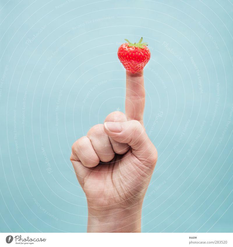 Hand Funny Bright Fruit Arm Food Skin Fingers Communicate Sweet Cool (slang) Simple Sign Creativity Idea European