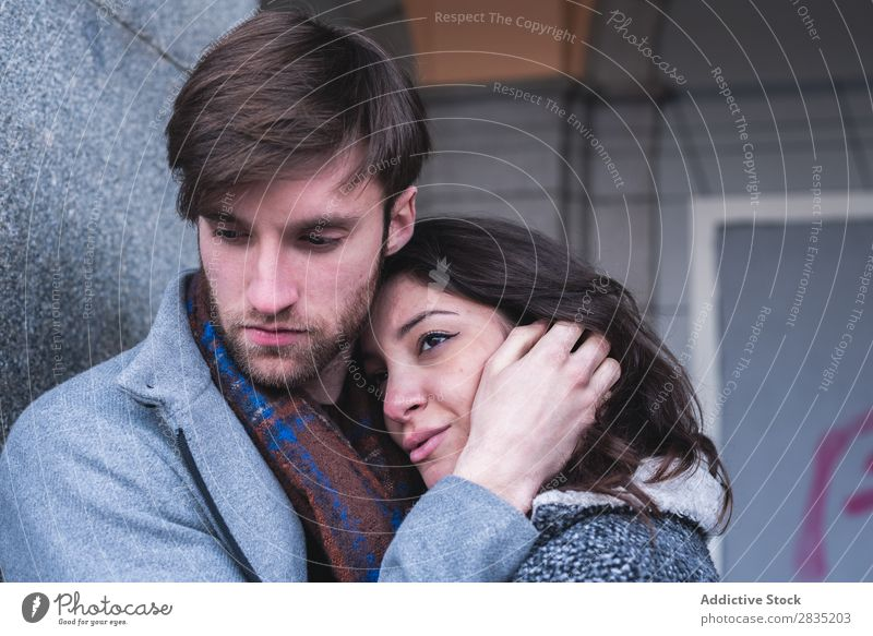Posing embracing couple Human being Embrace Posture Couple Walking Cheerful Madrid Spain playa mayor Joy Youth (Young adults) Desire Woman Man Love Relationship